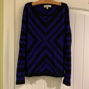 Milly Blue and black geometric design sweater